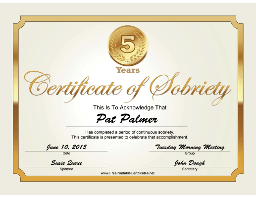 5 Years Sobriety Certificate (Gold) certificate