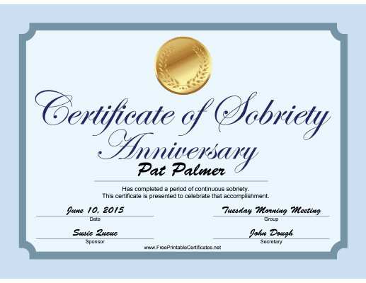 Sobriety Anniversary Certificate (Blue) certificate