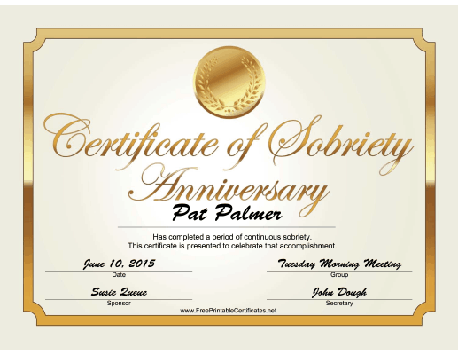 Sobriety Anniversary Certificate (Gold) certificate
