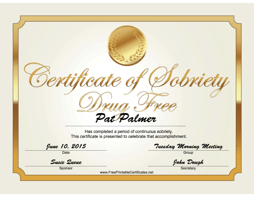 Drug Free Certificate (Gold) certificate