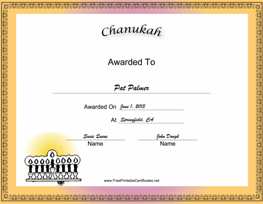 Chanukah Holiday certificate