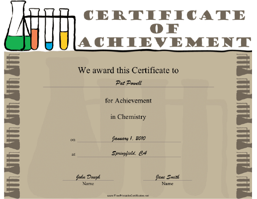 Chemistry certificate