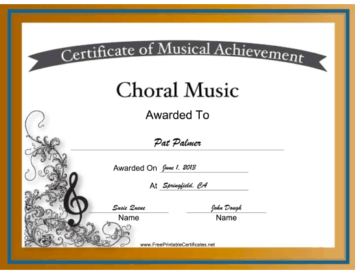 Choral Music Vocal Music certificate