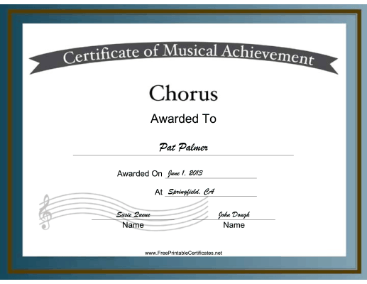 Chorus Vocal Music certificate