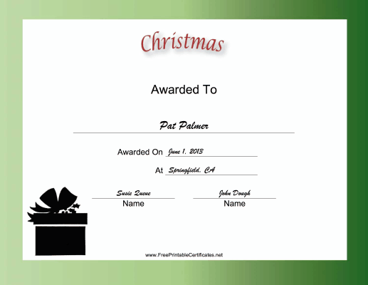 Christmas Holiday certificate