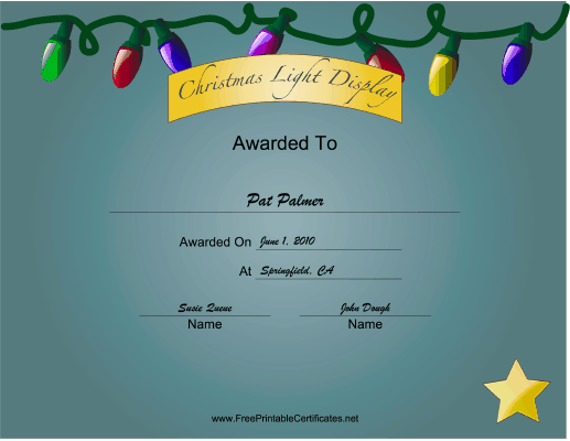 Christmas Lights 3rd Place certificate