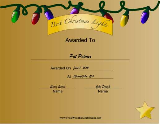 Christmas Lights Best certificate