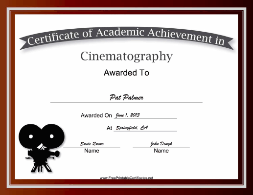 Cinematography Academic certificate