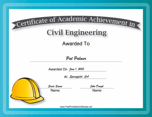 Civil Engineering Academic certificate