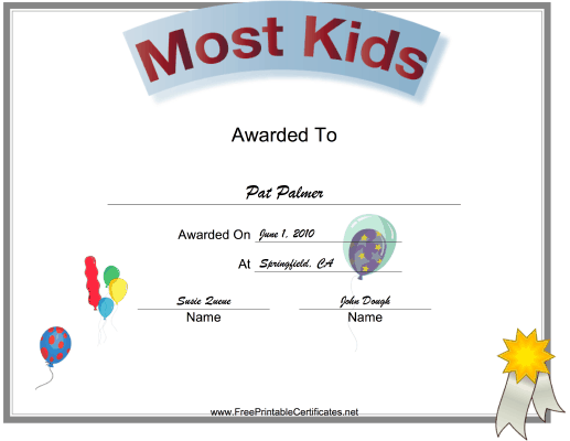 Most Kids Class Reunion certificate