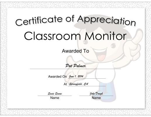 Classroom Monitor Appreciation Boy certificate