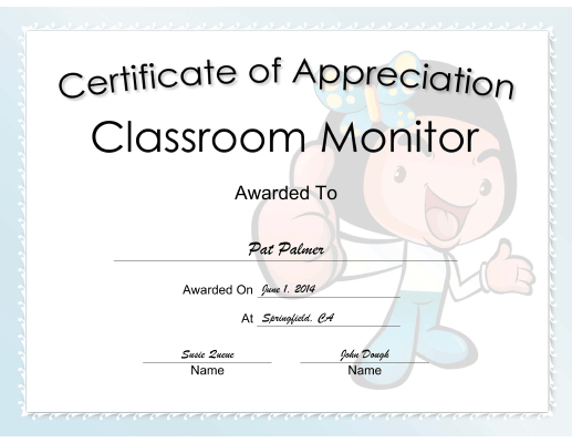 Classroom Monitor Appreciation Girl certificate