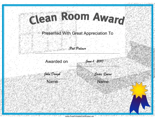Clean College Room certificate