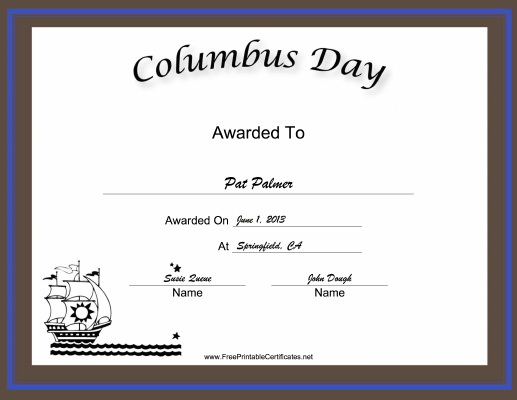 Columbus Day Holiday certificate