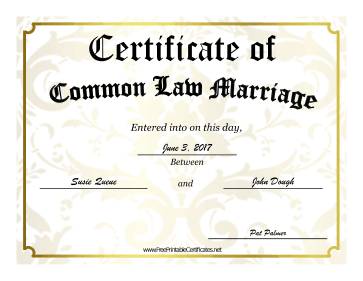 Common Law Marriage certificate