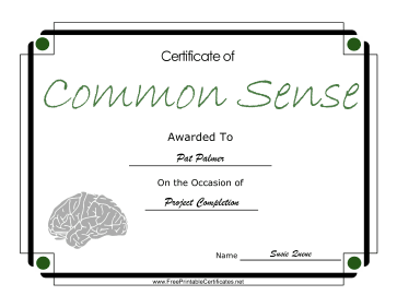 Common Sense certificate