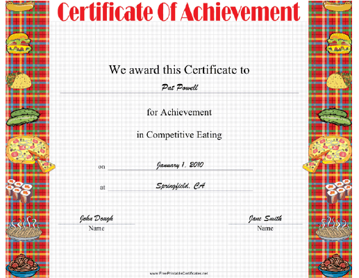 Competitive Eating certificate
