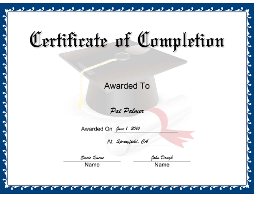 Blue Completion certificate
