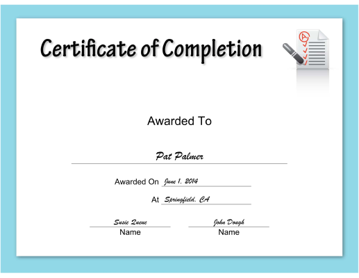 checklist Completion certificate
