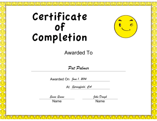 Yellow Smiley Completion certificate