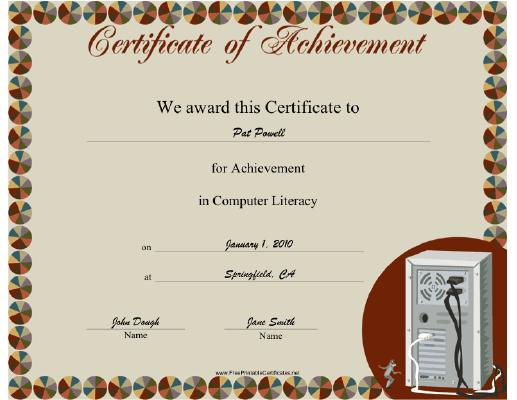 Computer Literacy certificate