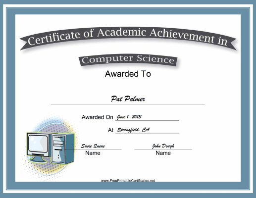 Computer Science Academic certificate