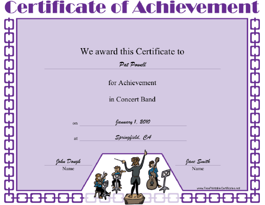 Concert Band certificate