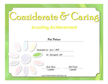Considerate And Caring Badge certificate