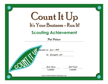 Count It Up Badge certificate