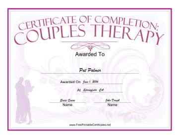 Couples Therapy certificate