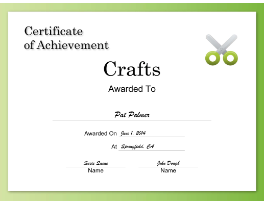 Crafts Achievement certificate