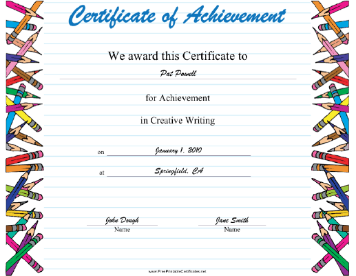 Creative Writing certificate