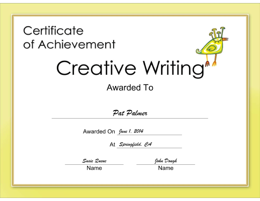 Creative Writing Achievement certificate