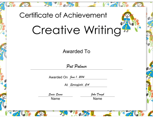 Creative Writing Achievement Princess certificate