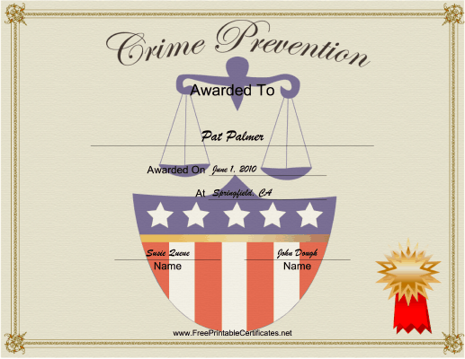 Crime Prevention certificate