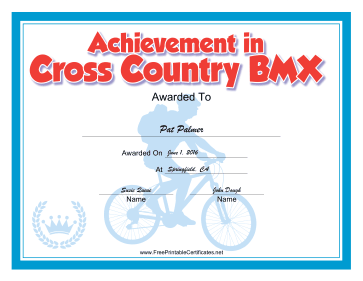 Cross-Country BMX certificate