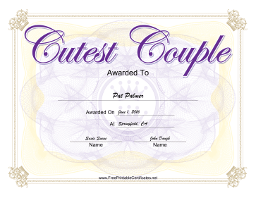 Cutest Couple Yearbook certificate
