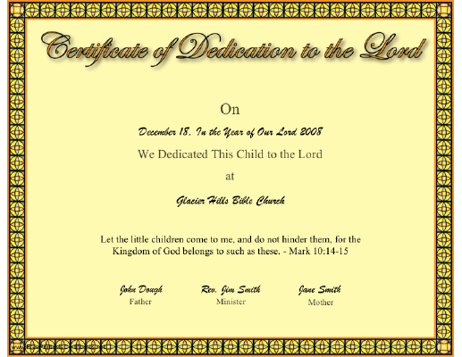 Dedication to the Lord certificate