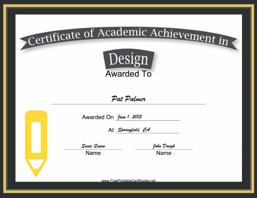 Design Academic certificate