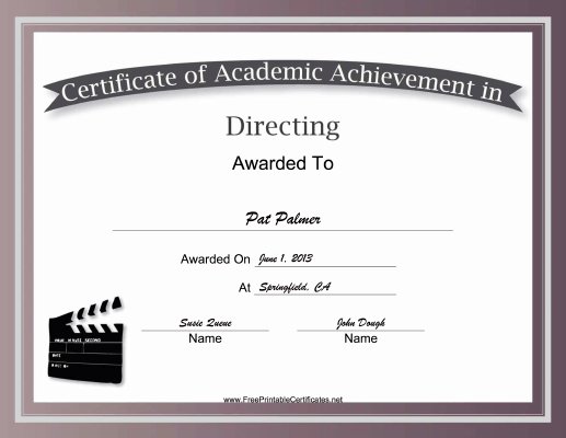 Directing Academic certificate