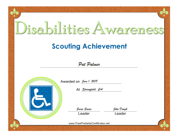 Disabilities Awareness Badge certificate