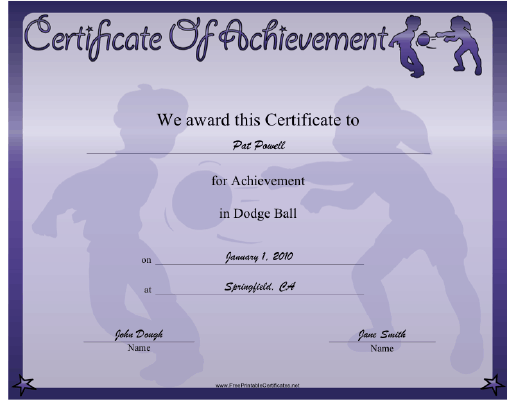 Dodge Ball certificate