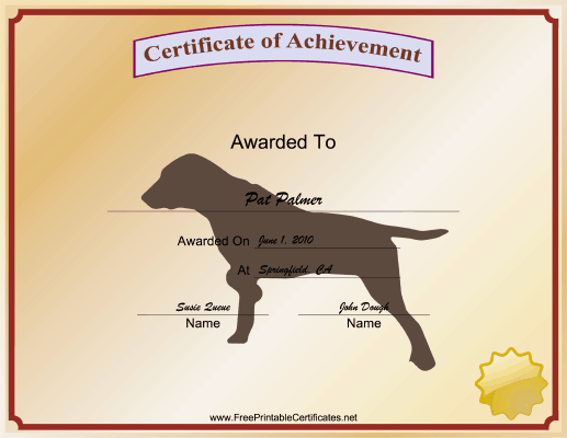 Best Hunting Dog certificate