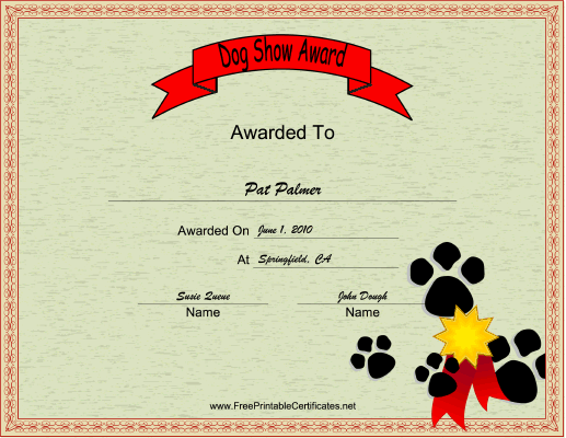 Dog Show certificate