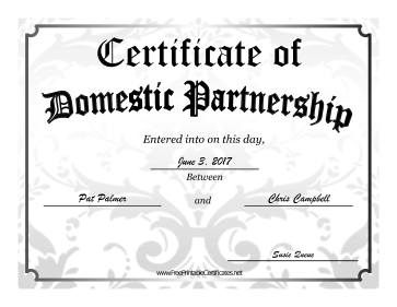 Domestic Partnership certificate