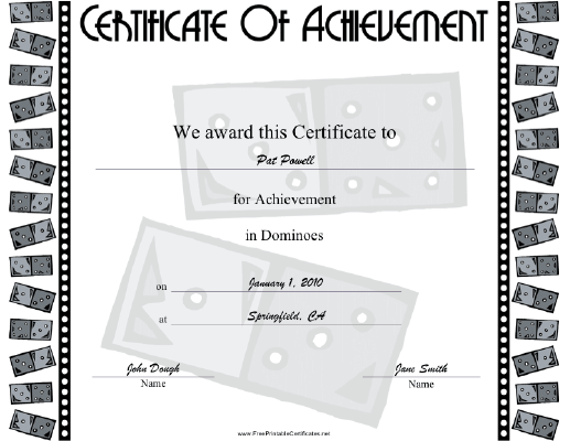 Dominoes certificate