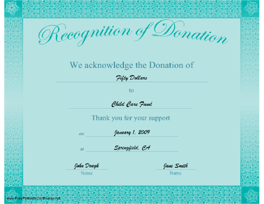 Recognition of Donation certificate