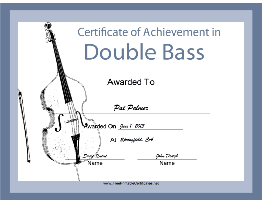 Double Bass Instrumental Music certificate