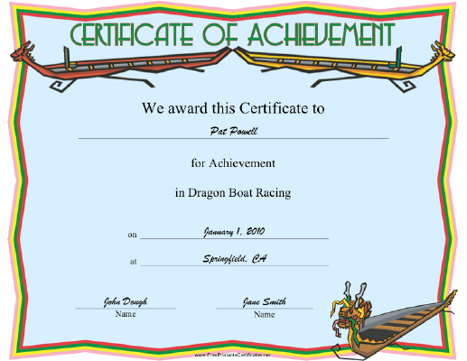 Dragon Boat Racing certificate