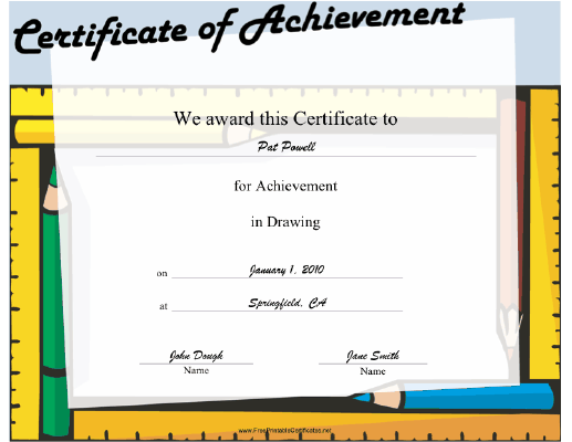 Drawing certificate